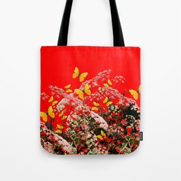 RED GARDEN ART OF YELLOW BUTTERFLIES & LACEY FLOWERS Tote Bag