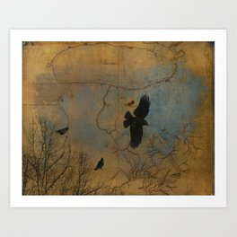 A Vintage Flight Of The Crows Art Print