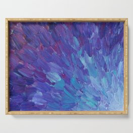 SCALES OF A DIFFERENT COLOR - Abstract Acrylic Painting Eggplant Sea Scales Ocean Waves Colorful Serving Tray