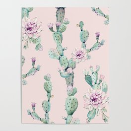Cactus Rose Pattern on Pink Poster