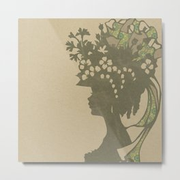 Garden Hat Chic:  Vintage Stylish Lady in hat silhouette with brown and tan sepia Metal Print