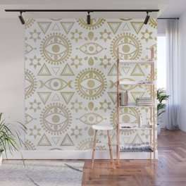 Geometric Evil Eye Metallic Wall Mural