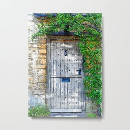 Vintage Grey Door Marker - For Doors & Travel Lovers Metal Print