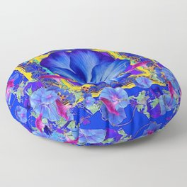 DECORATIVE BLUE PANSY & VINING  MORNING GLORIES Floor Pillow