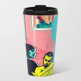 Man and Woman Reenact the Last Supper in an Age of Digital Ecstasy Panel #5 Metal Travel Mug