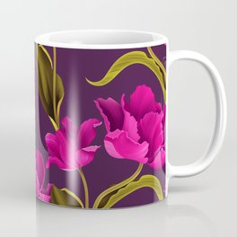 Bold & Bright Hot Pink Colored Parrot Tulip Flowers on Dark Background Coffee Mug