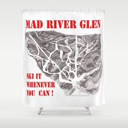 Mad River Glen Vermont, Ski Zentangle Illustration Shower Curtain