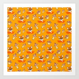 Cute pretty little foxes, red leaves, wild mushrooms bright orange nursery pattern design Art Print
