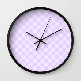 Large Chalky Pale Lilac Pastel Checkerboard Wall Clock