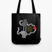 robot Tote Bags featuring Robot by D64d