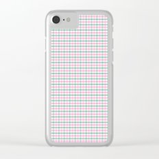 Gingham pink and forest green Clear iPhone Case