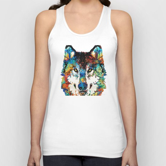 Wolf Art Print - Hungry - By Sharon Cummings Unisex Tank Top