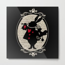 Alice In Wonderland White Rabbit Vintage Book Metal Print