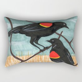 Red Winged Blackbirds in Marsh Rectangular Pillow