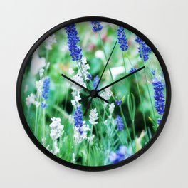 White & Blue Lavender Dream #1 #art #society6 Wall Clock
