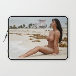 8802-SS Beautiful Naked Woman Nude Beach Sand Surf Big Breasts Long Black Hair Sexy Erotic Art Laptop Sleeve