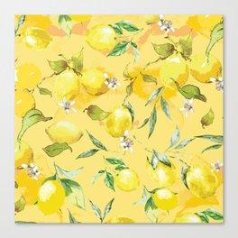 Watercolor lemons 5 Canvas Print
