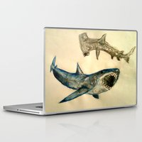 sharks Laptop & iPad Skins featuring Sharks by Jen Hallbrown