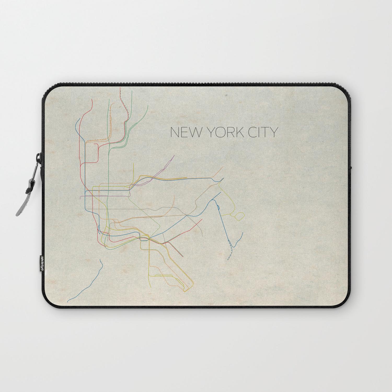 New York Subway Map Wallet.Minimal New York City Subway Map Laptop Sleeve