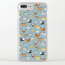 Cat Face Doodle Pattern Clear iPhone Case