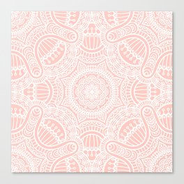 Pink Rose Ethnic Mandala Pattern Canvas Print