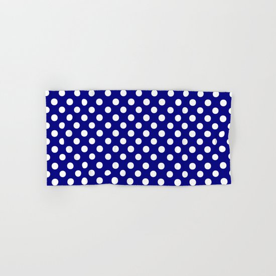 Polka Dots (White/Navy Blue) Hand & Bath Towel