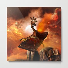 Funny, cute giraffe flys with a rug Metal Print