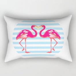 Flamingo, Flamingo t-shirt, watercolor poster, pink in blue stripes, circle Rectangular Pillow