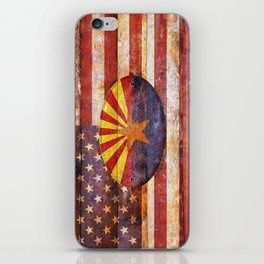 Arizona and USA flag on old wooden planks. iPhone Skin