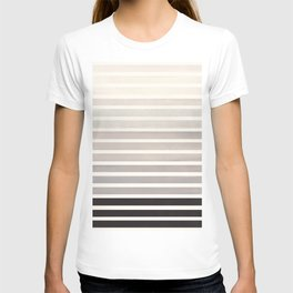 Watercolor Gouache Mid Century Modern Minimalist Colorful Grey Stripes T-shirt
