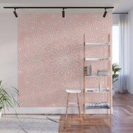 White Mandala Pattern on Rose Pink Wall Mural