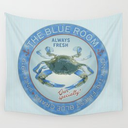 Retro Vintage Advertising Inspired Seafood Ad for Blue Crabs Wall Tapestry