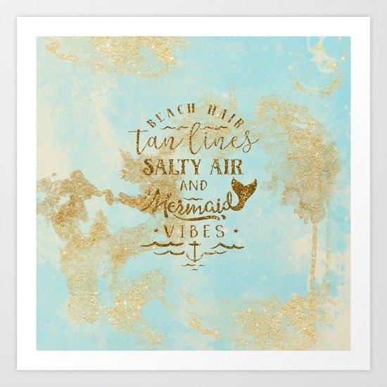 Beach-Mermaid-Mermaid Vibes - Gold glitter lettering on aqua glittering background Art Print