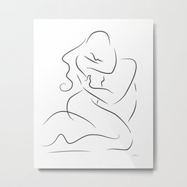 Sexy nude couple drawing. Lovers embrace print for bedroom. Metal Print