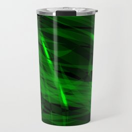 Saturated green and smooth sparkling lines of grass tapes on the theme of space and abstraction. Travel Mug