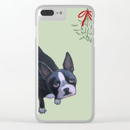 Dog with Mistletoe Clear iPhone Case