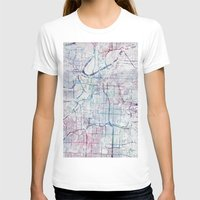 kansas city T-shirts featuring Kansas city map by MapMapMaps.Watercolors