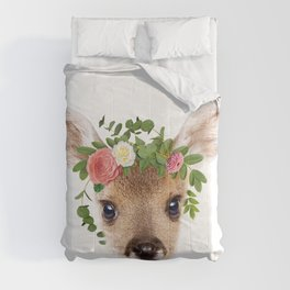 Baby Deer With Flower Crown, Baby Animals Art Print By Synplus Comforters