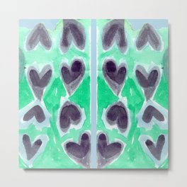 Hearts In Black Metal Print