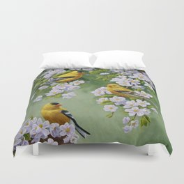 Goldfinches and Spring Apple Blossoms Duvet Cover