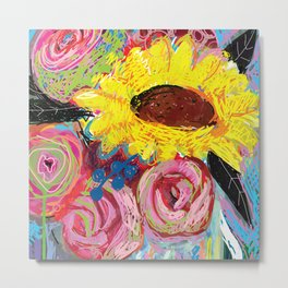 Flirtatious Sunflower Metal Print
