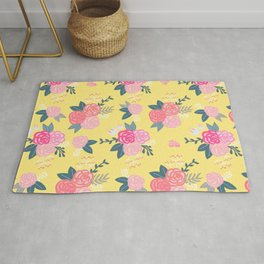 Sweet Roses on Yellow Rug