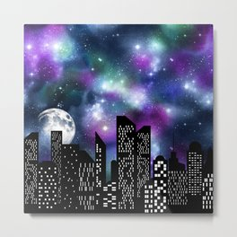 Starry Skyline Paper , City sky ,Gift Lover the moon Metal Print