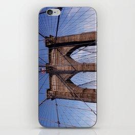 Brooklyn Bridge, the American flag and blue skies iPhone Skin