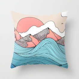 The blue waves and the orange peaks Throw Pillow
