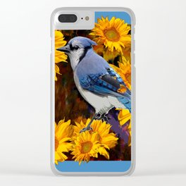 BLUE JAY YELLOW SUNFLOWERS ART Clear iPhone Case