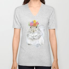 Gray Squirrel with a Floral Crown Watercolor Unisex V-Neck