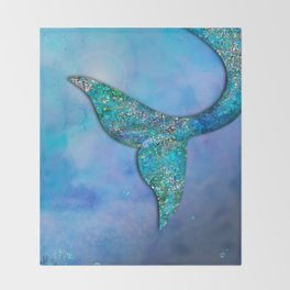 Sparkly Mermaid Tail Fin Throw Blanket