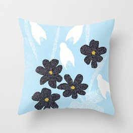 Snowdrops and violets Throw Pillow