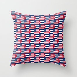 Mix of flag: usa and Cuba Throw Pillow